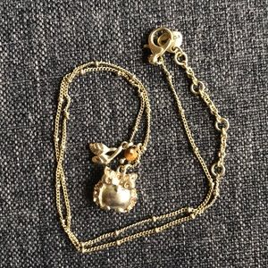 Fossil owl gold necklace